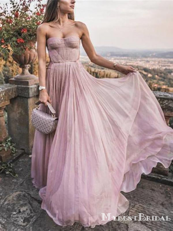 New Arrival Charming Strapless Sleeveless Pink A-line Chiffon Long Cheap Prom Dresses, TYP0111