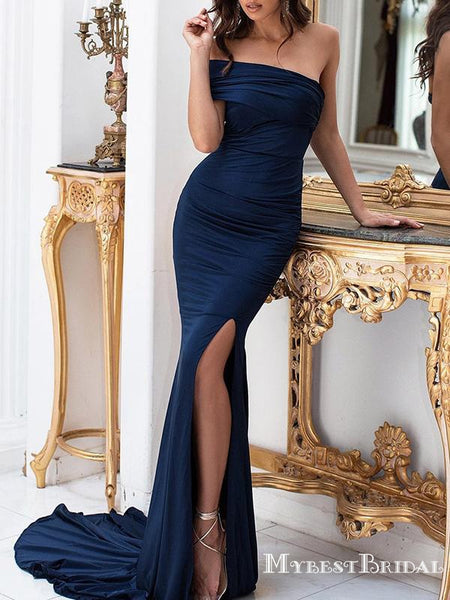 Charming Elegant One-Shoulder Sleeveless Navy Elastic Silk Long Cheap Mermaid Prom Dresses, PDS0011