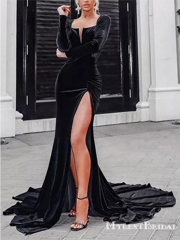 Elegant Charming Sparkly Neckline Long Sleeves Black Velvet Long Cheap Mermaid Prom Dresses, TYP0133