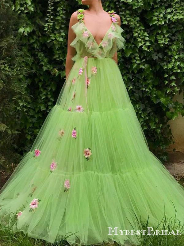 Newest Charming Elegant Deep V-neck Mint Tulle With Flower Appliqued Long Cheap Prom Dresses, PDS0013