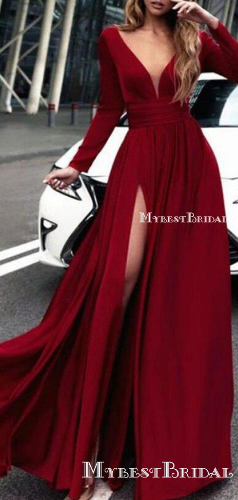 Long Sleeves Dark Red,V Neck Prom Dress With High Slit ,Evening Gowns  ,PDY0176