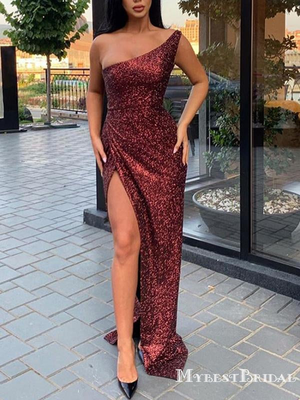 New Arrival Sparkly Burgundy Sequin One Shoulder Sleeveless Side Slit Long Cheap Prom Dresses, TYP0114