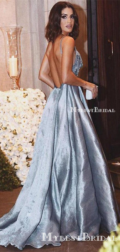 Luxurious A-line Straps Blue Formal Evening Dress,Sexy Backless Beaded Deep V Neckline prom dresses,  ,PDY0174