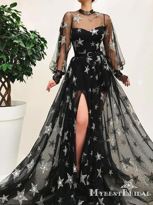 Elegant Chaming New Arrival Illusion Neckline Long Sleeves Black Tulle Long Cheap Formal Evening Prom Dresses, TYP0128