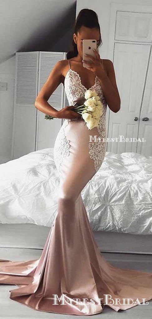 Mermaid Spaghetti Straps Backless Prom Dress,Cheap Prom Dresses,PDY0547