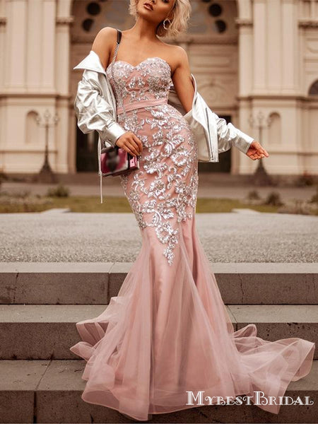 Sweetheart Hot Selling Charming Pink Organza Appliqued Long Cheap Mermaid Prom Dresses, TYP0118