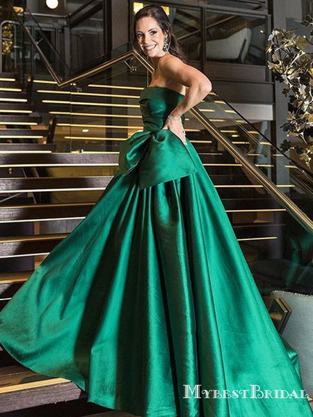 Charming Strapless Green Satin A-line Long Cheap Fromal Party Evening Dresses, Prom Dresses, PDS0061