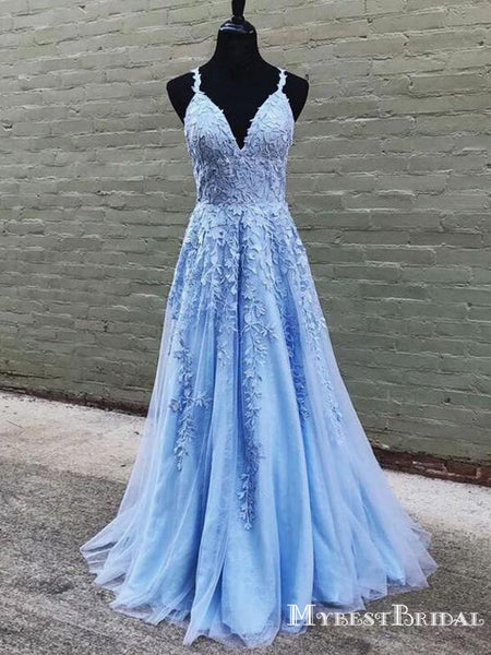 Charming Elegant Spaghetti Strap V-neck Blue Lace A-line Long Cheap Formal Evening Party Prom Dresses, PDS0048