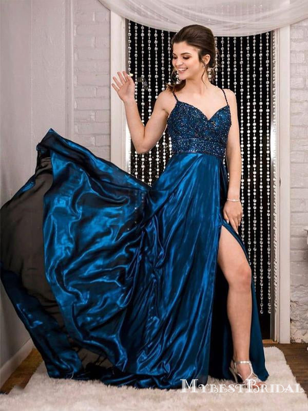 New Arrival Spaghetti Strap Sleeveless Blue Elastic Satin With Top Beads A-line Long Cheap Prom Dresses, PDS0033