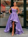 Asymmetrical One Shoulder Lilac Satin High Low A-line Long Cheap Formal Evening Party Prom Dresses, PDS0045