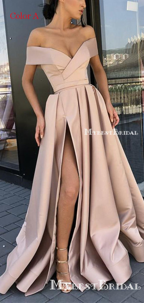 A-line Off-the-Shoulder Pink Satin Prom Dresses,Cheap Prom Dresses,PDY0488