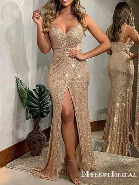 Charming Mermaid Spaghetti Straps Sparkly Gold Sequins Side Slit Long Cheap Evening Prom Dresses, PDS0027