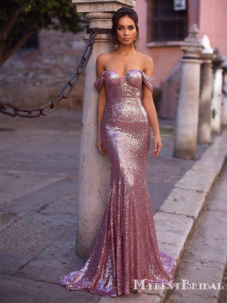 Sexy Rose Gold Sequin Off-The-Shoulder Mermiad Long Cheap Formal Evening Prom Dresses, PDS0060