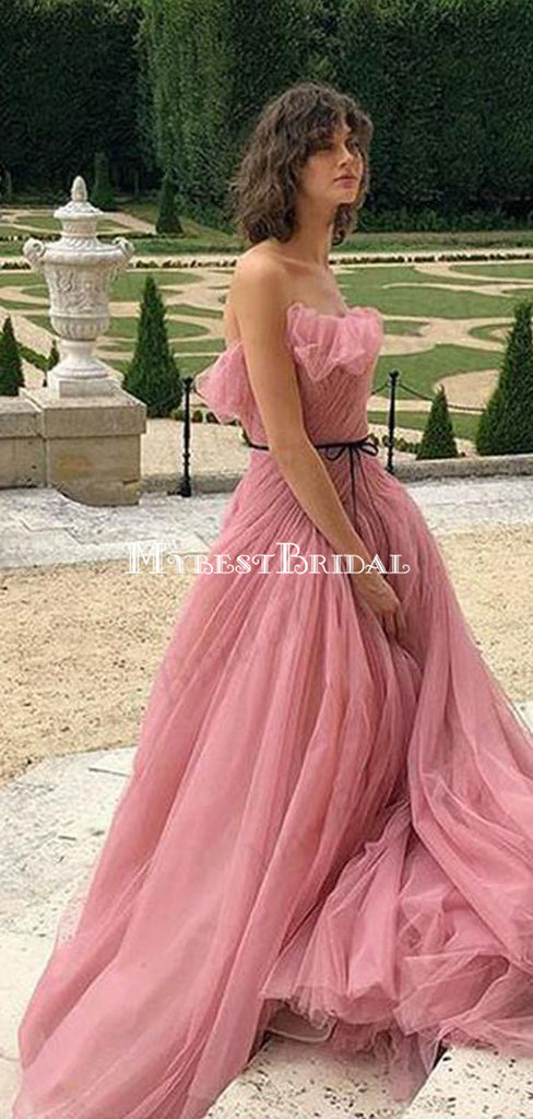 A-line Sleeveless Pink Tulle Evening Dresses ,Cheap Prom Dresses,PDY0579