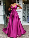 Simple V-neck Spaghetti Strap Hot Pink Satin A-line Long Cheap Prom Dresses, PDS0073
