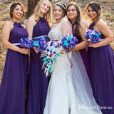 Purple Halter Sleeveless A Line Chiffon Long Cheap Bridesmaid Dresses, TYP0001