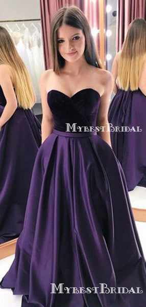 Charming Elegant Sweetheart Sleeveless Purple Satin A-line Long Cheap Evening Party Prom Dresses, PDS0023