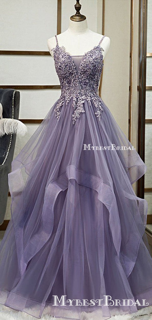 Elegant Spaghetti Strap Sleeveless Purple Tulle Top Lace Appliqued A-line Long Cheap Prom Dresses, PDS0035