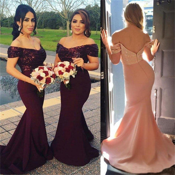 35331476742 2019 Maroon Off Shoulder Sequin Most Popular New Arrival Cheap Long  Bridesmaid Dresses , PDY0110