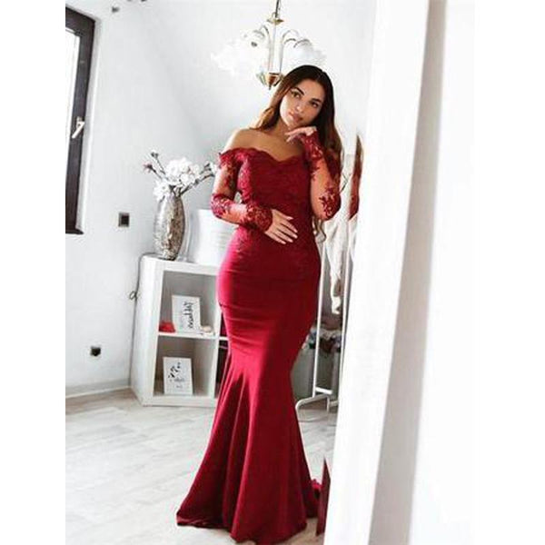 Long Sleeve Lace Mermaid Burgundy Long Bridesmaid Dresses Online, WGY0223