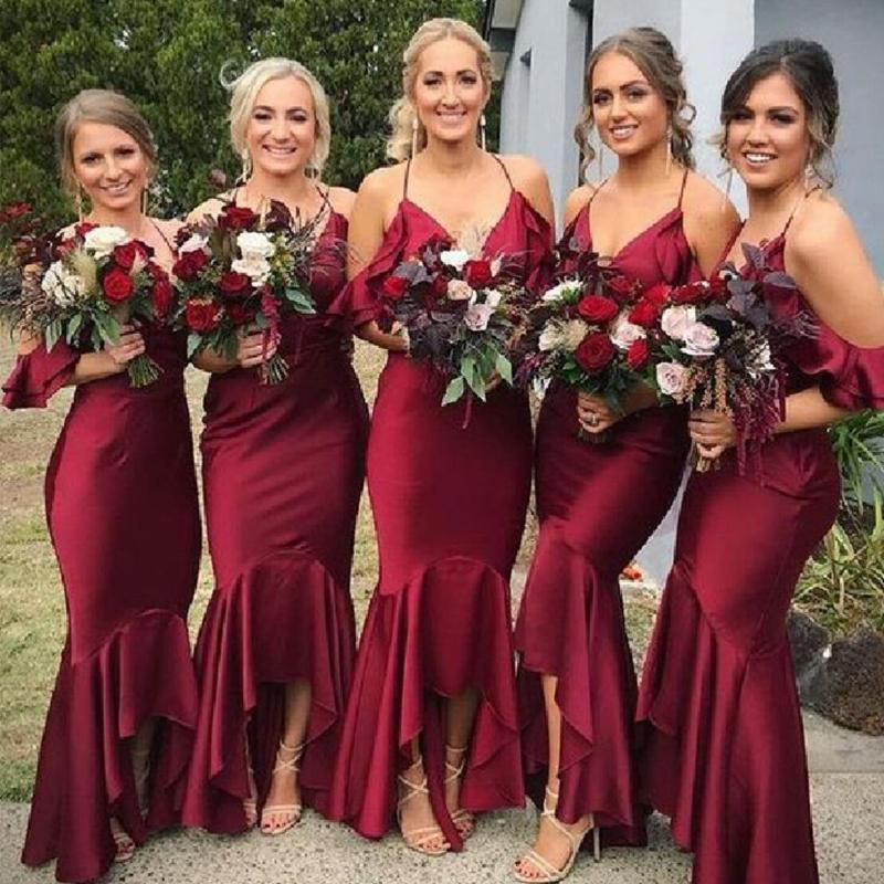 Burgundy Mermaid Off Shoulder Halter Long Bridesmaid Dresses Online, WGY0265