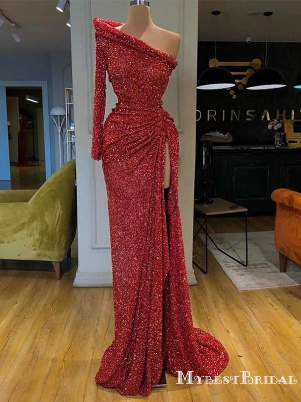 New Arrival Sparkly One Shoulder Long Sleeves Long Cheap Red Sequin Prom Dresses, TYP0083
