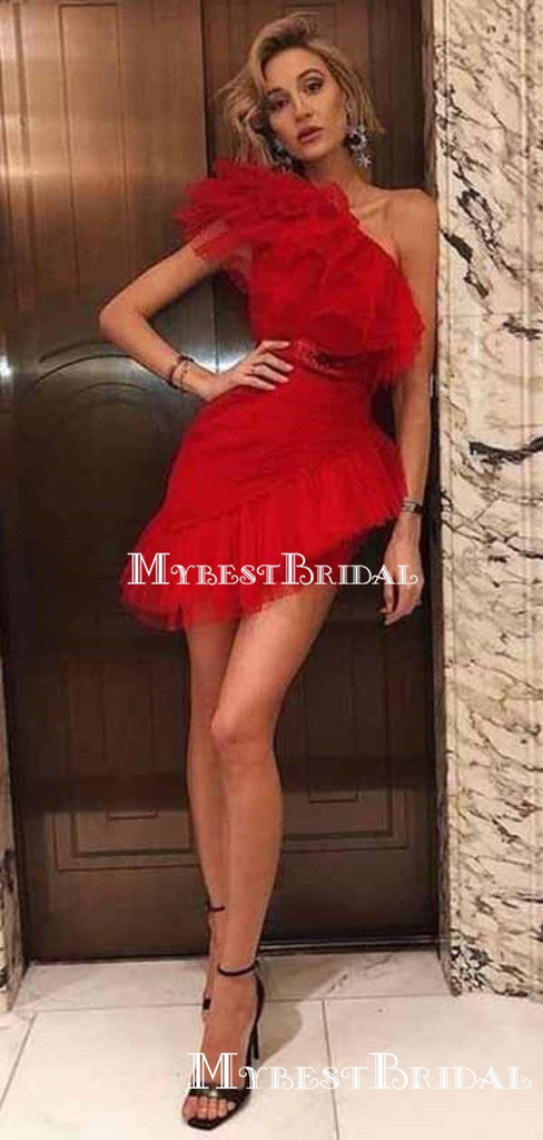 Sexy Red One Shoulder Mini Graduation Mermaid Short Cheap Homecoming Dresses, HDS0015