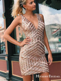 Sexy V-neck Sheath Rose Gold Sequin Short Homecoming Dresses, TYP0049