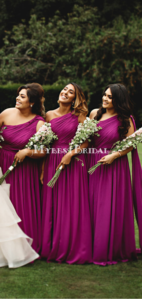 Charming One Shoulder Peach Pink Long Cheap Bridesmaid Dresses, BDS0120