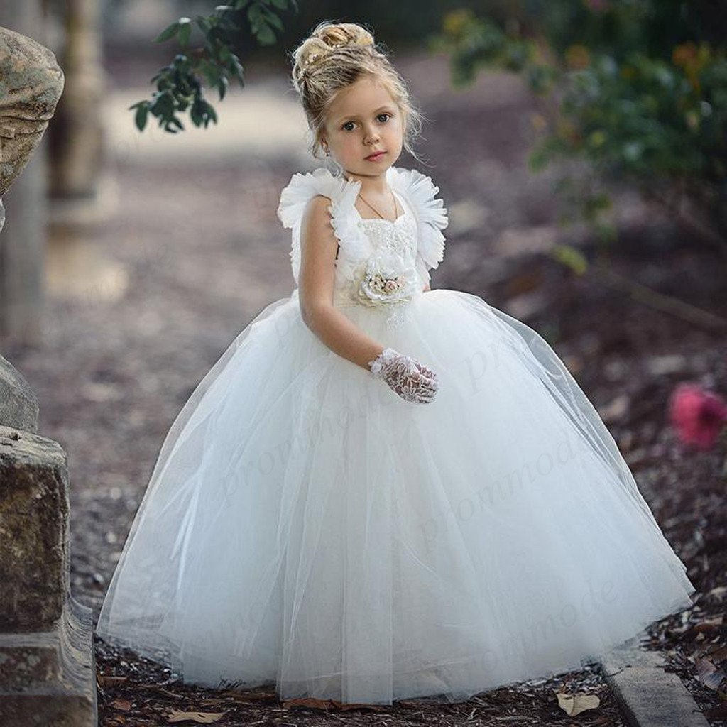 Cute White Tulle Beaded Backless Ball Gown Little Girl Dresses, Flower Girl Dresses ,FGY0212