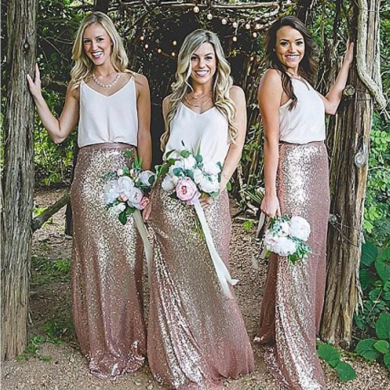 V Neck Casual Long Mermaid Sequin Cheap Bridesmaid Dresses Online, WGY0305