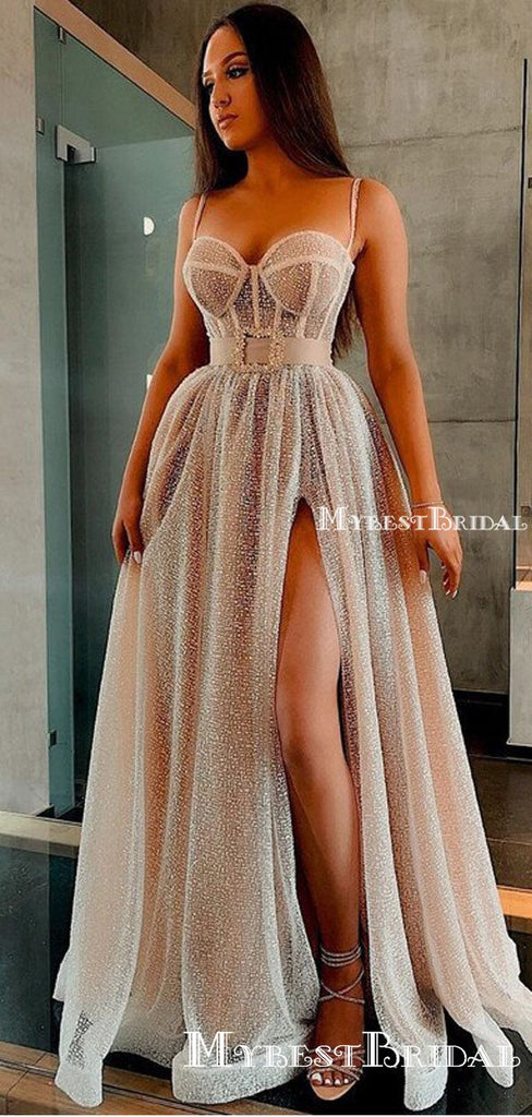Charming Spaghetti Strap Sweetheart Sexy Side Slit A-line Long Cheap Prom Dresses, PDS0072