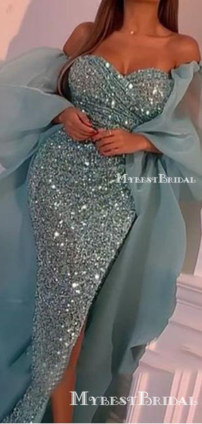 Sparkly Sweetheart Sequin Mermaid Long Cheap Formal Prom Dresses, PDS0075