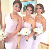 A-line One Shoulder High Low Pleated Lilac Cheap Bridesmaid Dresses, TYP0032