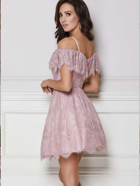 0bbc9eec175 A-Line Purple Lace Homecoming Dress with Ruffles