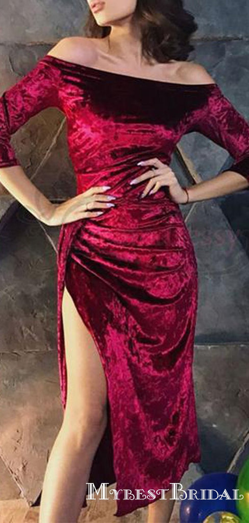 Off The Shoulder Half Sleeves Burgundy Velvet Homecoming Dresses With Split, TYP0058