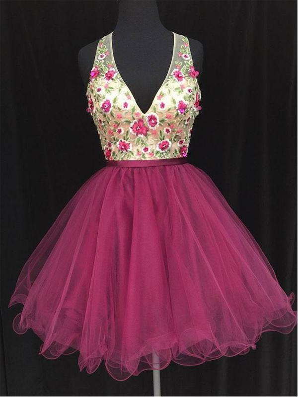 Sexy Open Back V neck Hot Pink Lace Cheap Homecoming Dresses 2018,BDY0240