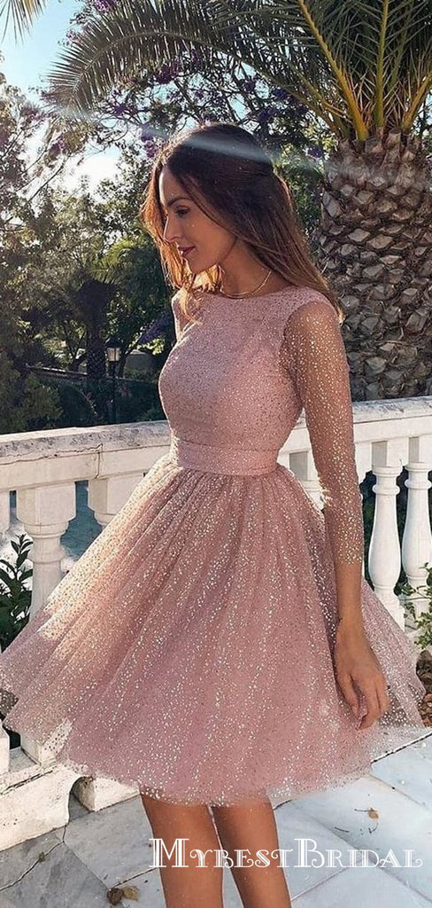 Newest Sparkly Pink Long Sleeve Sequin Short Backless Formal Homecoming Dresses, TYP0068
