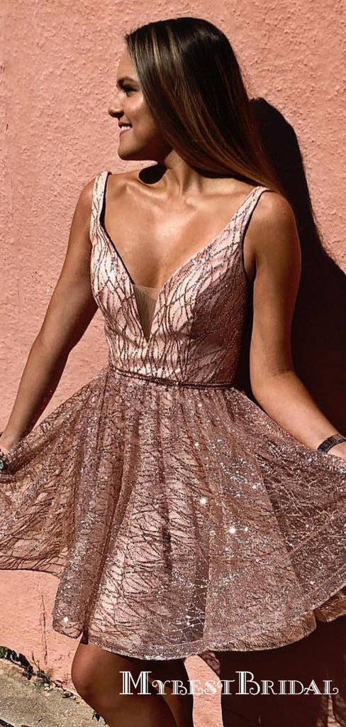 2019 Newest Sparkling Sequins Straps Short Homecoming Dresses, TYP0050