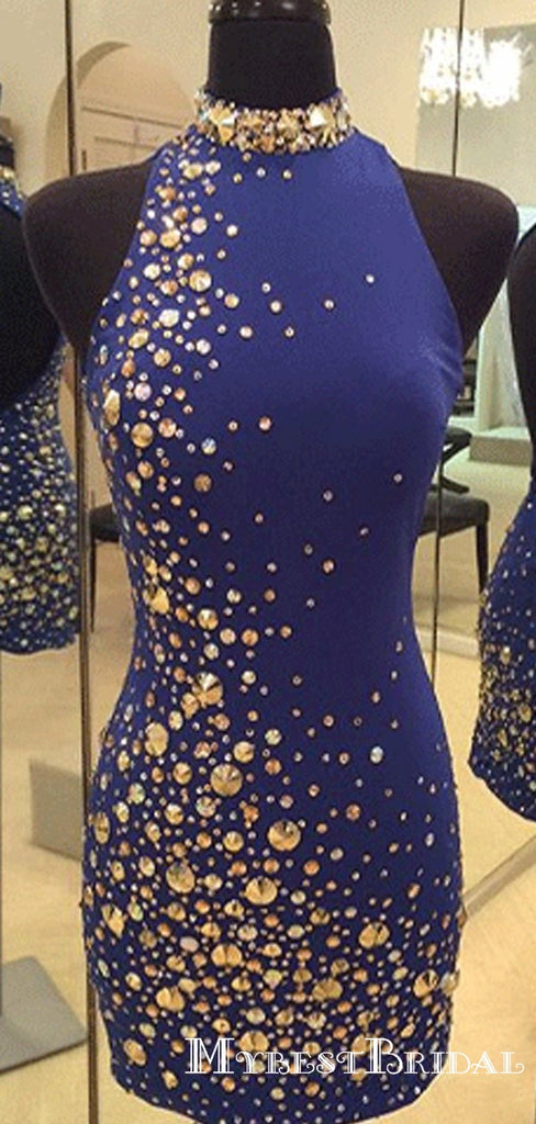 Royal Blue High Neck Tight Short Homecoming Dresses With Beaded, TYP0041
