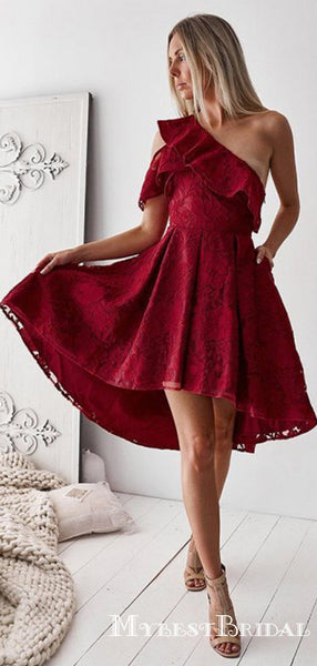 A-Line One-Shoulder High Low Burgundy Lace Homecoming Dresses with Ruffles, TYP0023