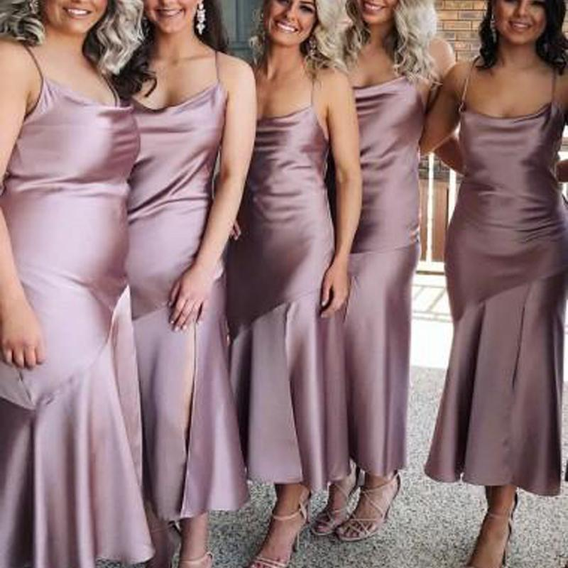 Spahgetti Straps Dusty Purple Tea Length Cheap Custom Bridesmaid Dresses Online, WGY0310