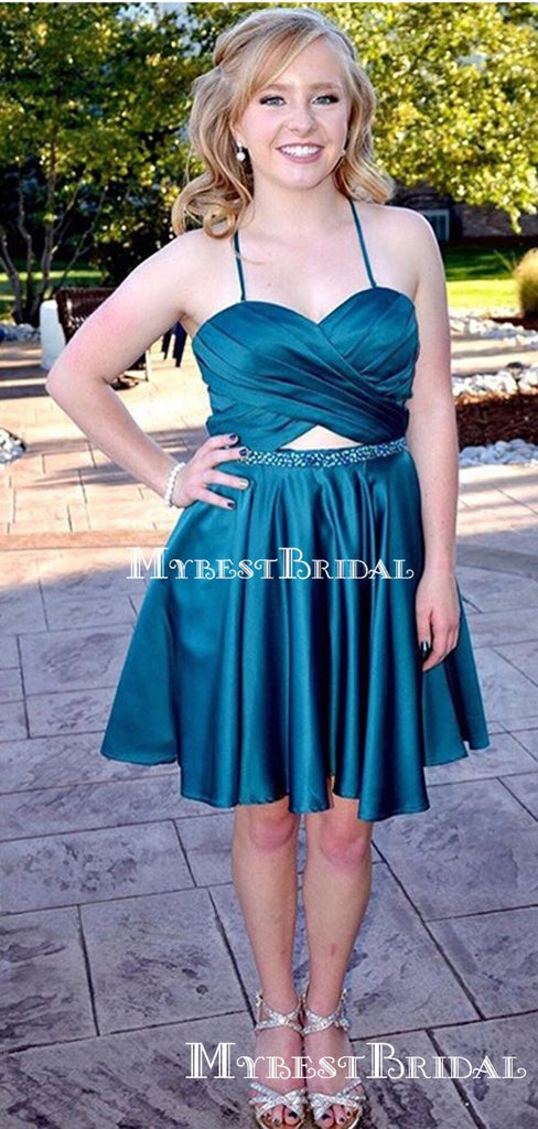 Simple Halter-Strap Teal Satin Short Cheap Homecoming Dresses, HDS0016