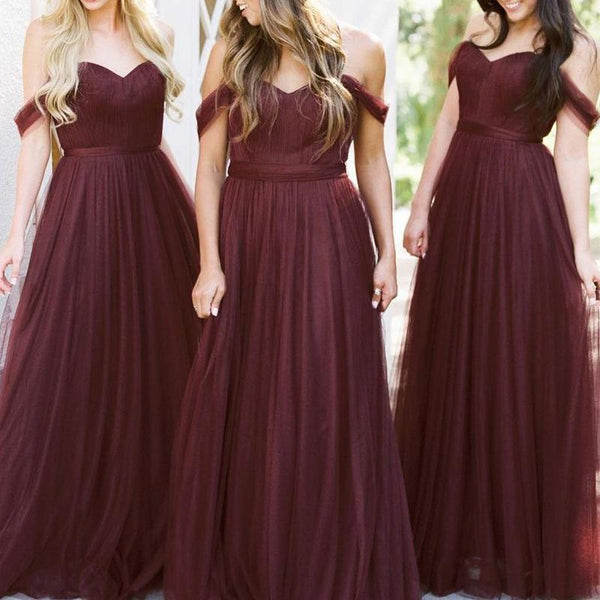 Off Shoulder Tulle A-line Custom Long Bridesmaid Dresses, WGY0293