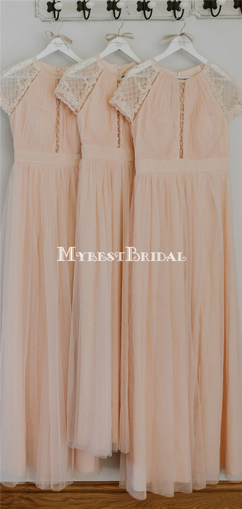 Newest Round Neck Pink Tulle Short Sleeve Long Cheap Bridesmaid Dresses, BDS0126