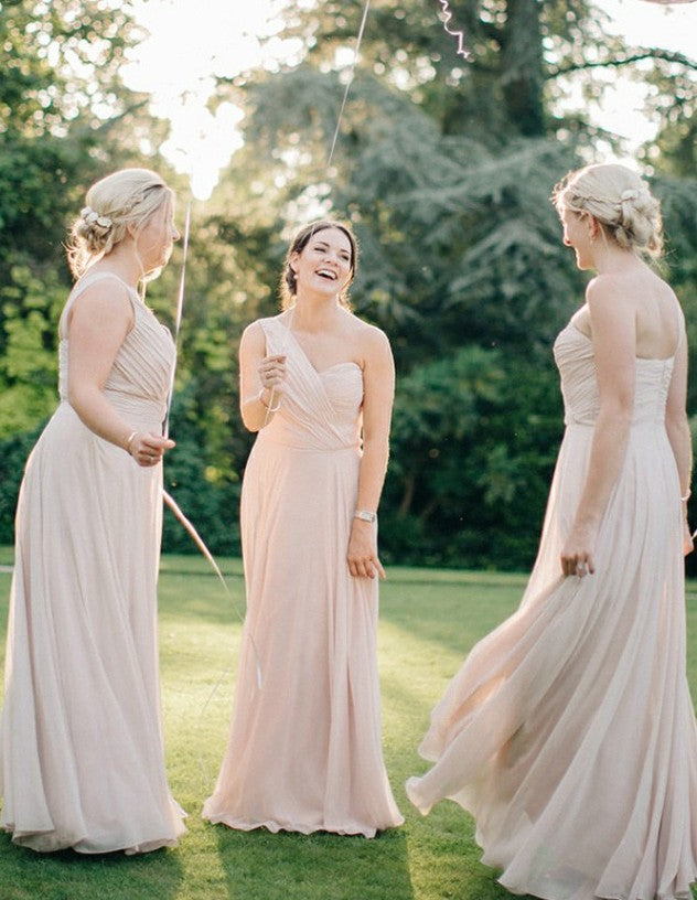 Sweetheart Full Length A-line Ivory Chiffon Convertible Bridesmaid Dresses,WGY0194