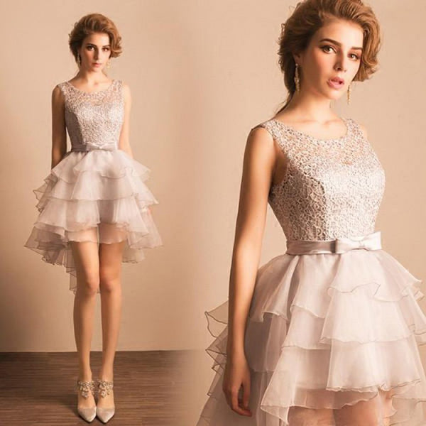 Asymmetrical Silver Lace Short Prom Dress, Party Dress, Homecoming Dress,BDY0158