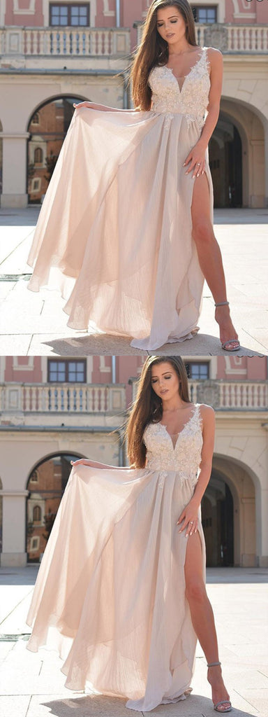 A-Line V-Neck Chiffon Prom Dress With Appliques Split,Cheap Prom Dresses,PDY0323