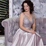Elegant V Neck Silver Sequins Ball Gowns,Long Prom Dress,Evening Party Dress ,PDY0379