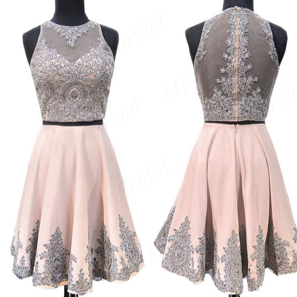 Shinning Two Piece Pink Beaded Homecoming Dresses With Lace Applique,Short Prom Dresses,BDY0168